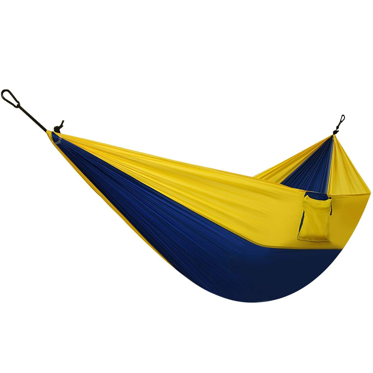 Homitt Outdoor Camping Hammock Set with 2M/6.56FT Hammock Tree Ropes & 2 Solid Carabiners for Travelling, Hiking, Backpacking, Motorcycle Trips, Beach or Mountain – Blue & Yellow