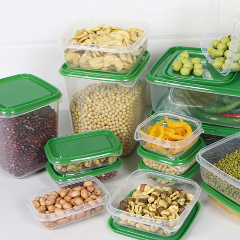 Plastic Storage Containers Fridge Food Container Rectangular Crisper Keep Food Fresh Kitchen Ware Set Glass lock Multi Use