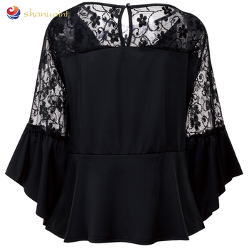 Transparent Black Color Guangzhou Made Women Sexy Tops And Blouses