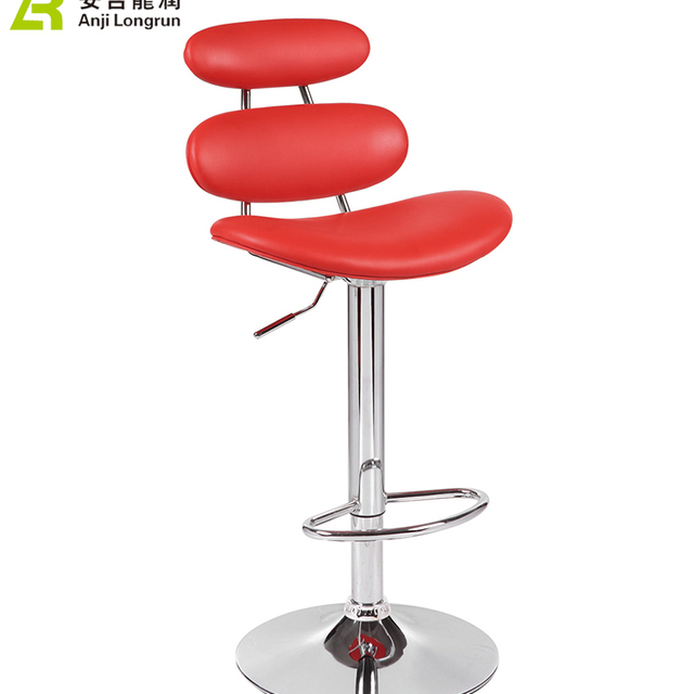 Chinese designer cheap red kitchen swivel metal pu leather bar stool