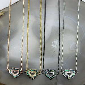 CH-GMN0060 Adjustable heart shape abalone shell zircon necklace,fashion cz charm necklace cheap wholesale