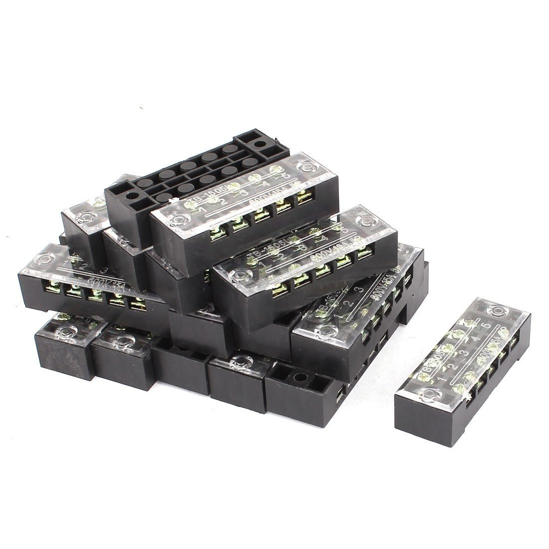 uxcell 20 Pcs 600V 15A 5P Screw Barrier Terminal Block Cable Connector Strip