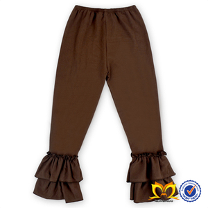 Brown Solid Color Boutique kids Ruffle Leggings fashion design Wholesale Kids Cotton Ruffle Pants set
