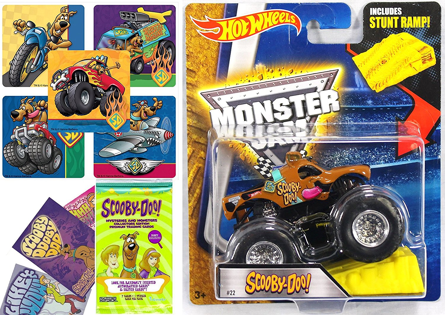 Scooby-Doo Monster Jam 2016 Hot Wheels Scooby Doo With Stunt Ramp + Stickers & Card Set Collectible Pack of Mystery Trading Cards + Monster Truck