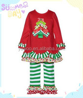 Kids Christmas Pajamas Children's Boutique Clothing Baby Ruffle Pant With Long Sleeve Top Girl's Christmas Outfit Child Clothing