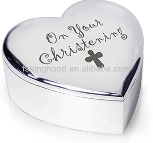 Baby christening Cross heart shape mini metal trinket jewelry box