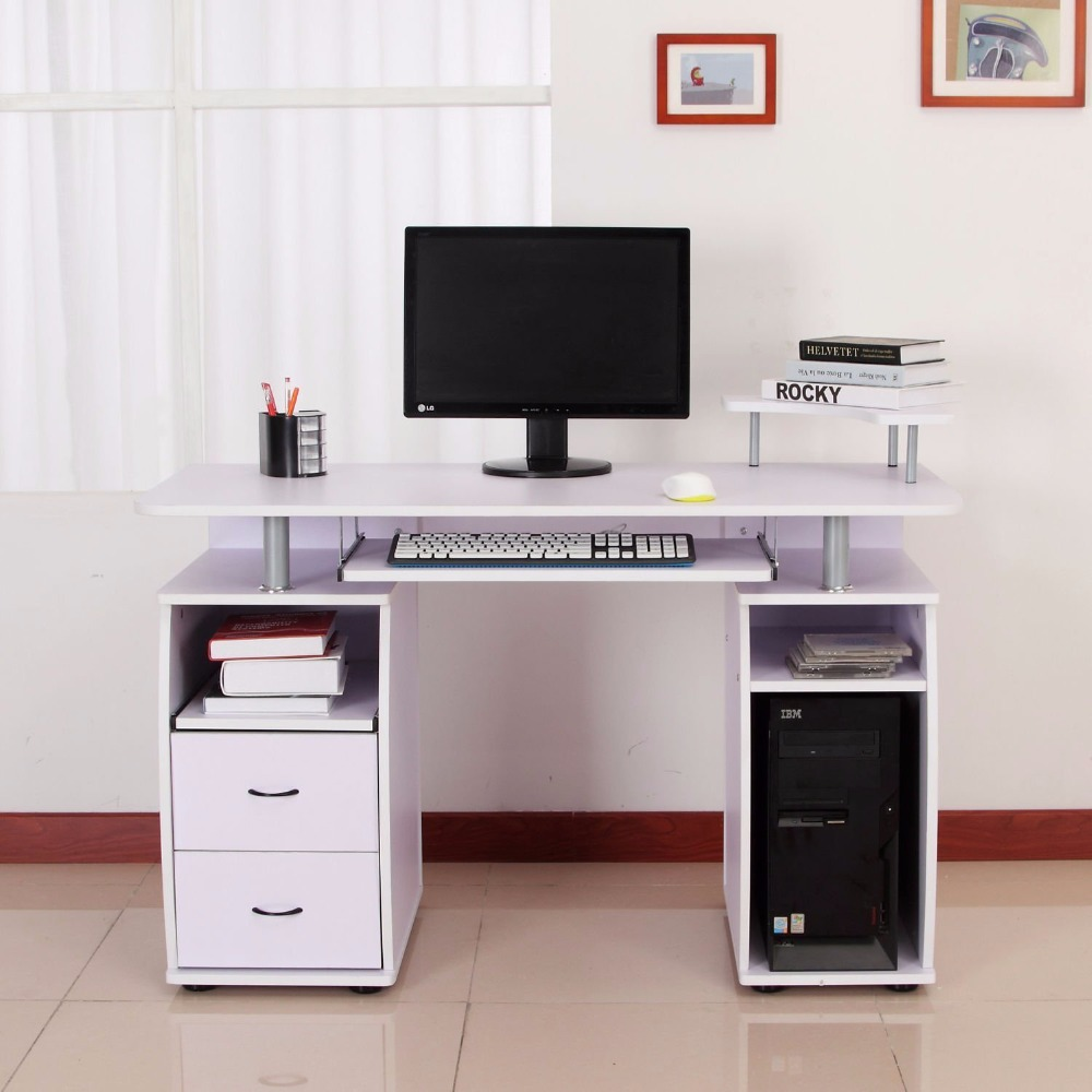 White High Gloss Computer Desk Buy Long Computer Desk