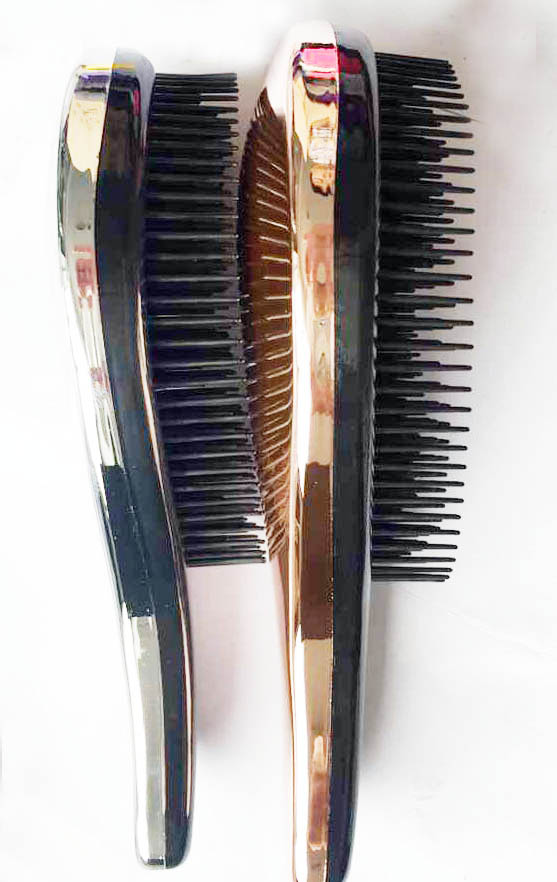 2017 Hot Sale economical Gold,silver,pink,purple Electroplate Detangling Hair Brush with chrome finish