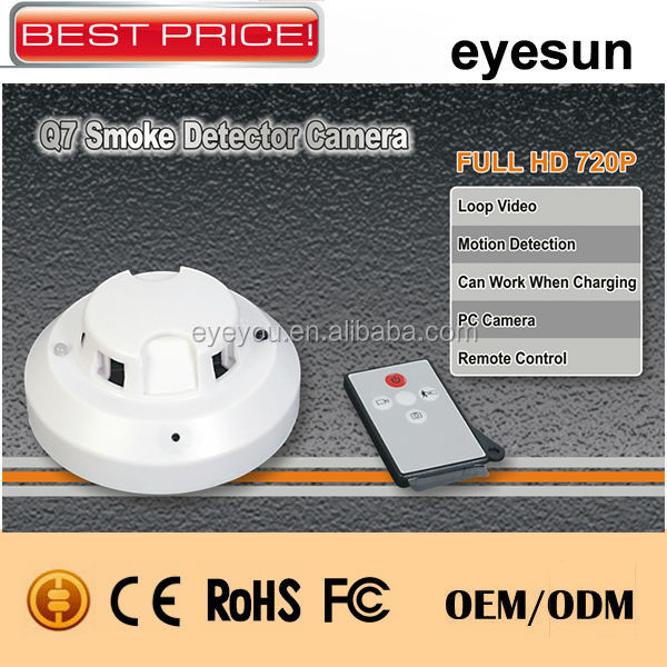 Remote control smoke detector hidden camera, hidden camera home security