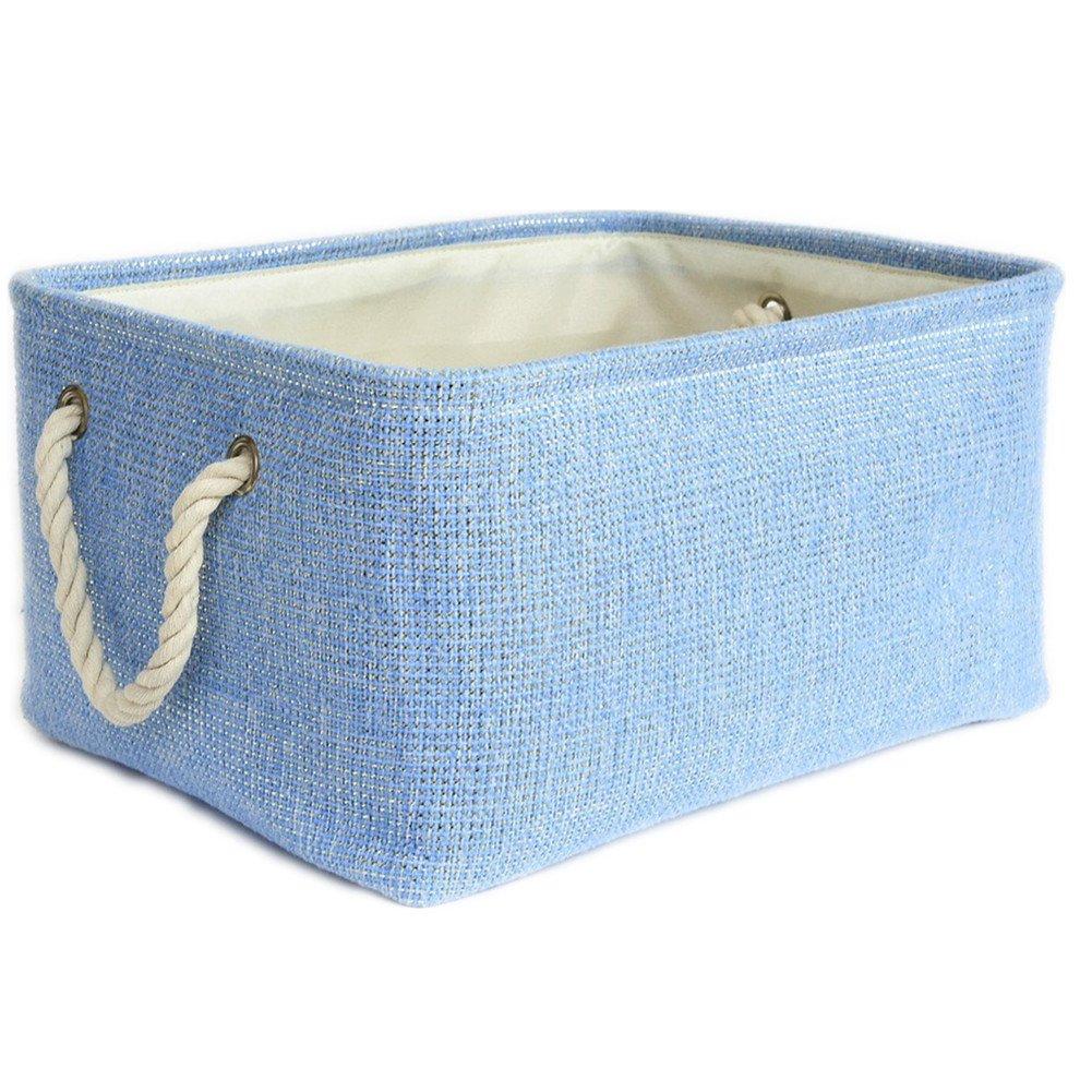 Buy TheWarmHome Large Blue Basket Rectangular Lined Storage Basket ...