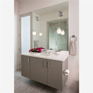 Customized Semi-Circle Painting PVC Bathroom Vanity with Curved Side Cabinet