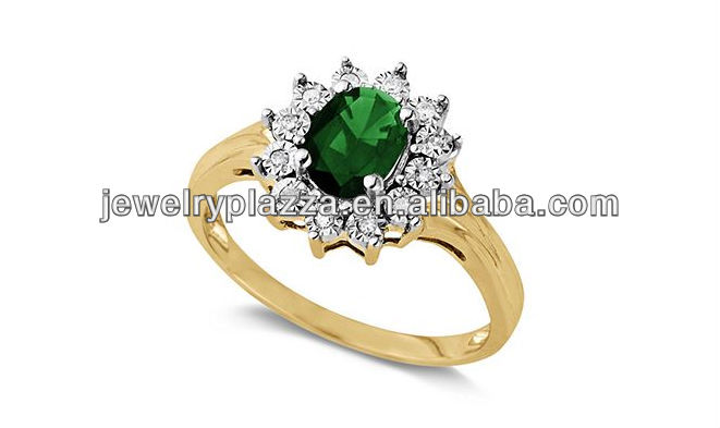 10k Gold Plater Sterling Silver Ring, Emerald Crystal Oval Rings Jewelry