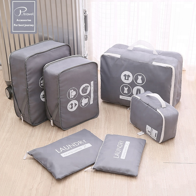 P.<strong>travel</strong> fashion 6 pcs Waterproof <strong>Travel</strong> Luggage Organizer Packing Cubes Set -3 <strong>Travel</strong> Cubes + 3 Pouches Zipped Mesh Bags