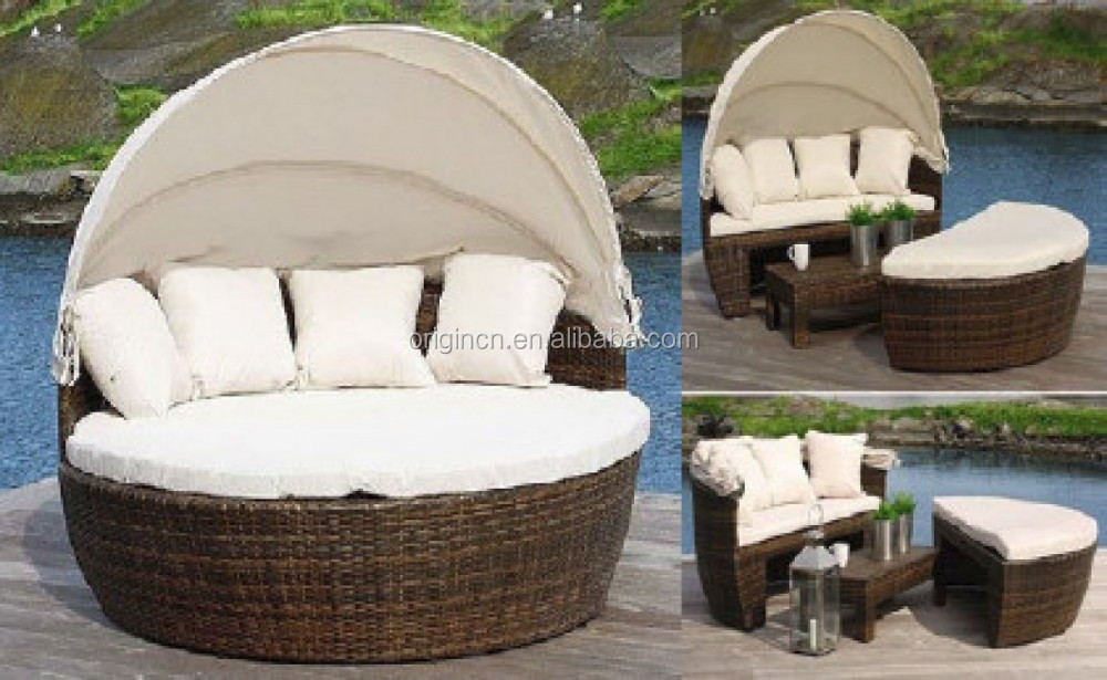 088 Fashionable Garden Outdoor Round Rattan Daybed With