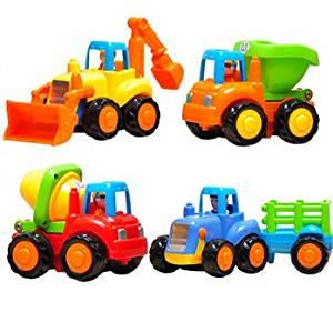 4pcs Set Kids Child Tractor Pushdozer Concrete Mixer Car Truck Toy Instrument