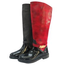 wellington Women's rubber warm buckle pu rain boots D-888