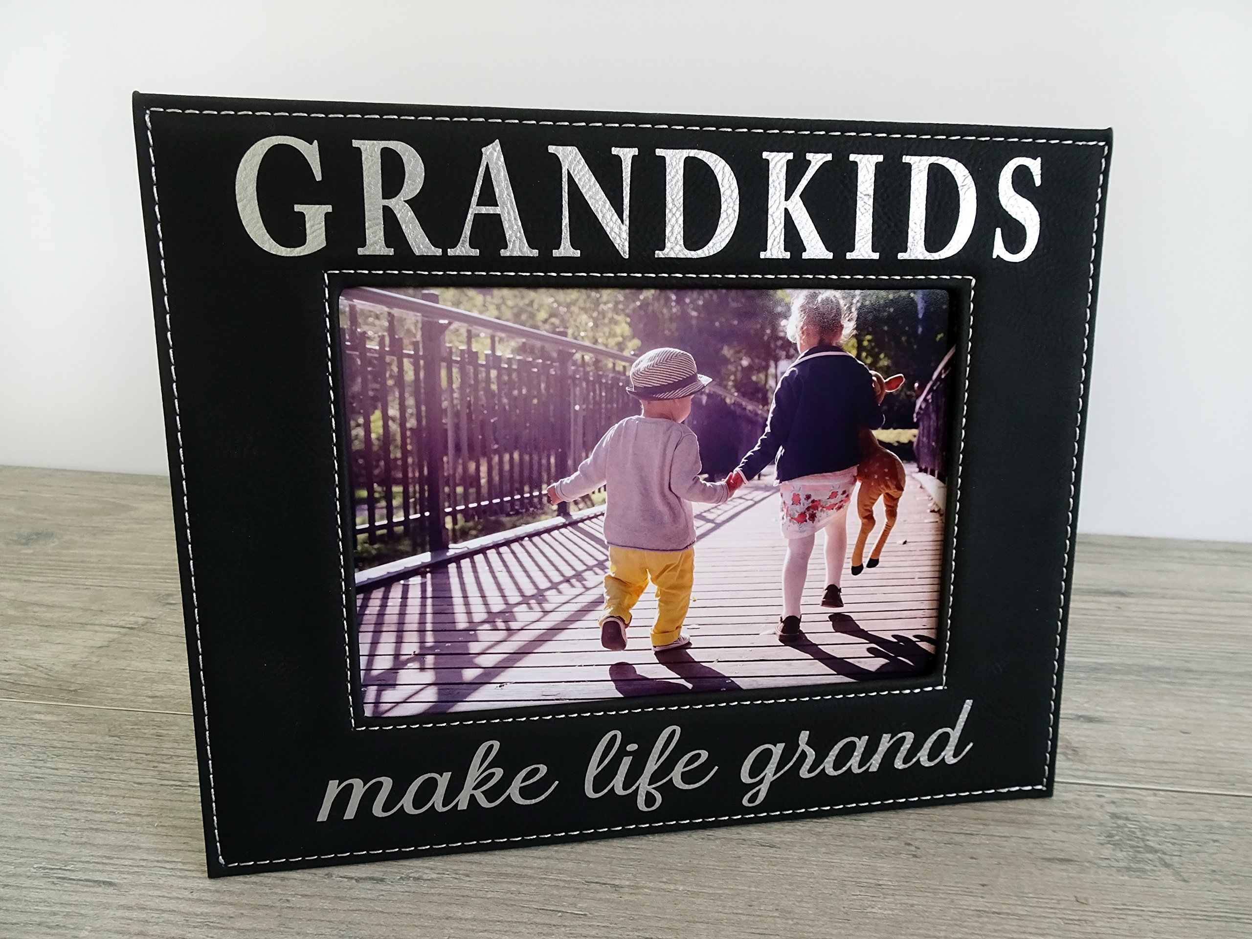 Gift for Grandparents Black Faux Leather 5x7 Picture Frame