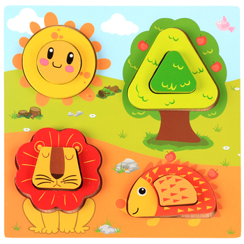 OXJY-3187 Baby 3D Puzzle Jigsaw Wooden Toys Cartoon Animals Puzzles Educational Toys Kids Puzzle