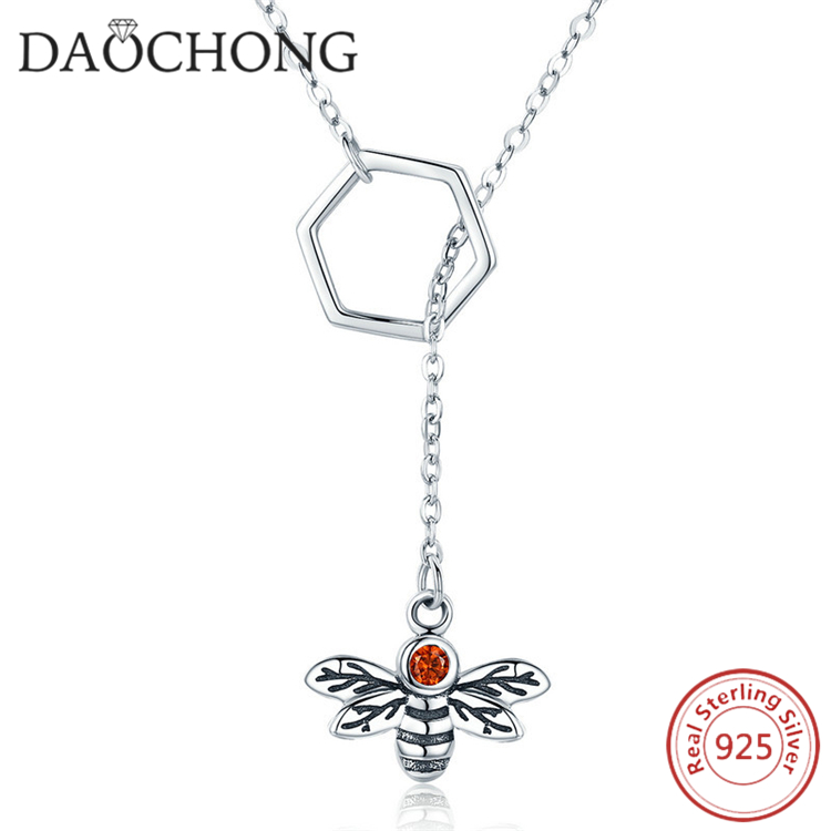 925 Sterling Silver Bee Pendant Necklace Chain