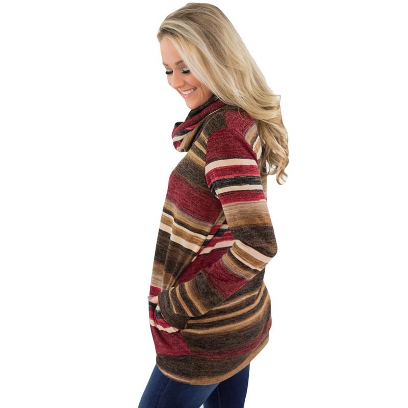 Latest Design Blue Multicolor Cowl Neck Striped Sweatshirt For Women