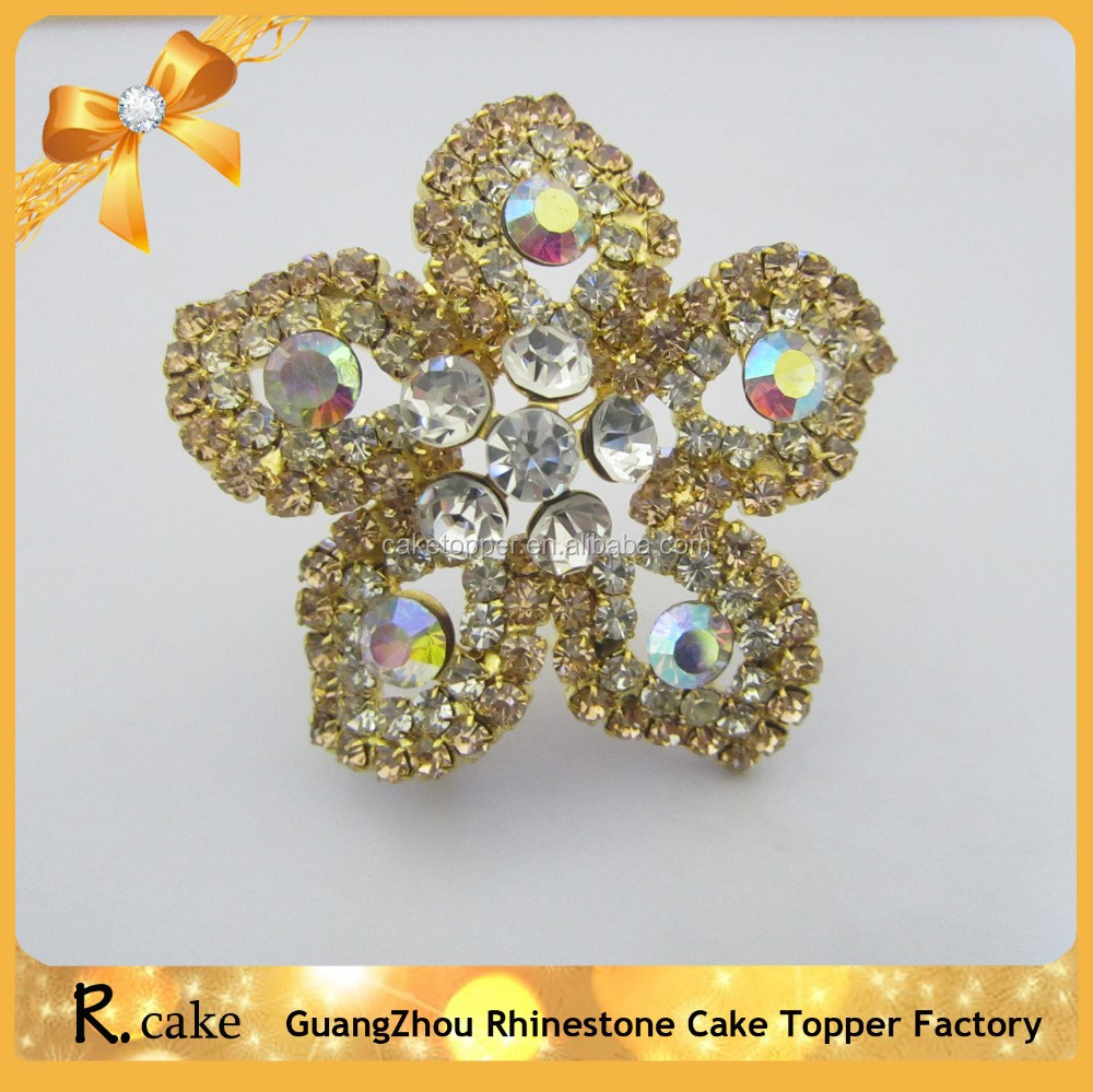 High Quality Gold Alloy Flower Design Diamond Brooches And Pins ...