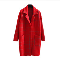 Latest notch lapel red plaid design long style cashmere blazer jacket women thick long cardigan sweater