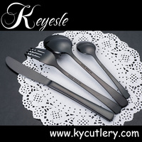 Hotel dinnerware customized design stainless steel plated black shiny cutlery