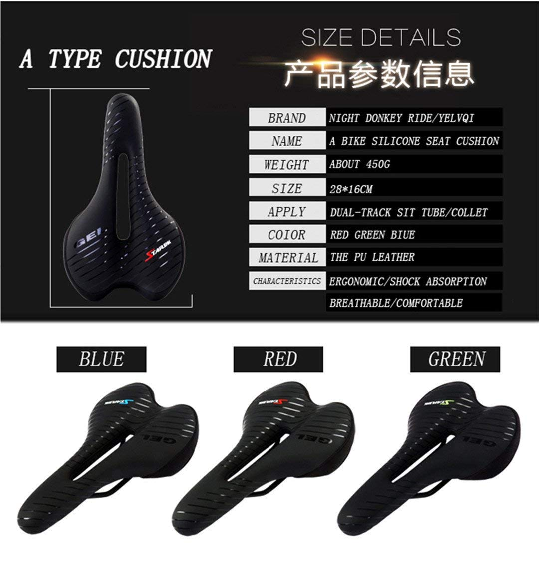 Mountainy Mtb Road Bike Seat Silicone Pad With Tail Light Bicycle Saddle Gel Breathable Comfort Hollow Cycling Seat For Men