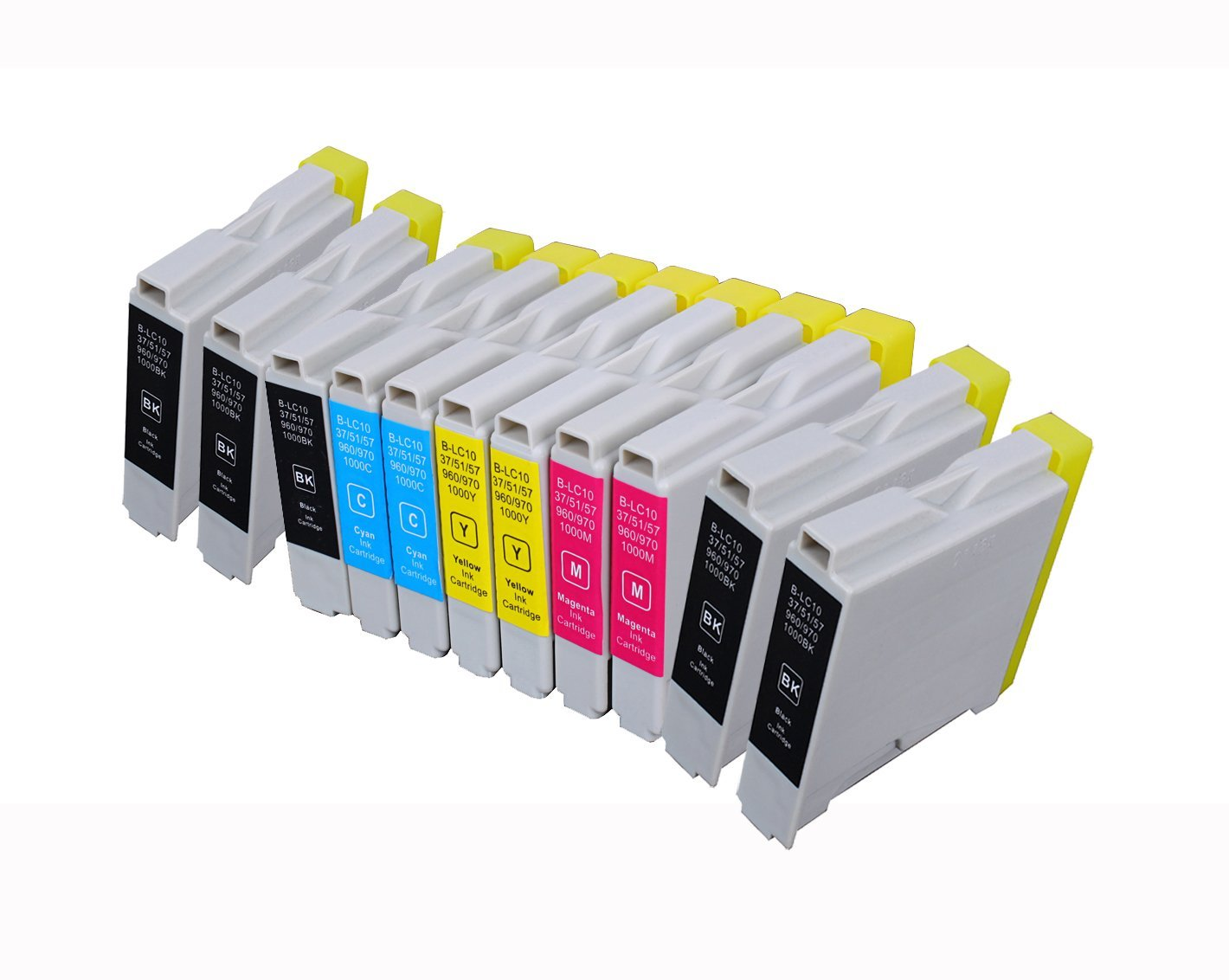 Inkcool 10-pack LC51 LC10 LC37 LC57 LC970 LC1000 LC960B 2480,IntelliFax-2580C,Fax-1460,Fax-1560 Compatible ink cartridges for Brother IntelliFax-1360,IntelliFax-1860C,IntelliFax-1960C,IntelliFax 4B,2C,2M,2Y