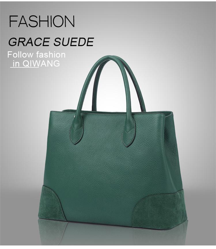 Qiwang Real Genuino De Cuero Verde Bolso De Las Mujeres De Moda Verde Bolsas Elegante Señoras Bolsa De Lujo Para Las Mujeres Grandes Buy Bolso De