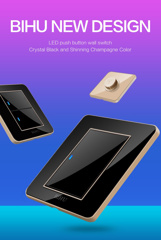 Modern Design Bihu Crystal Acrylic Glass Material 1 Gang 2 Way Light Switch Colours