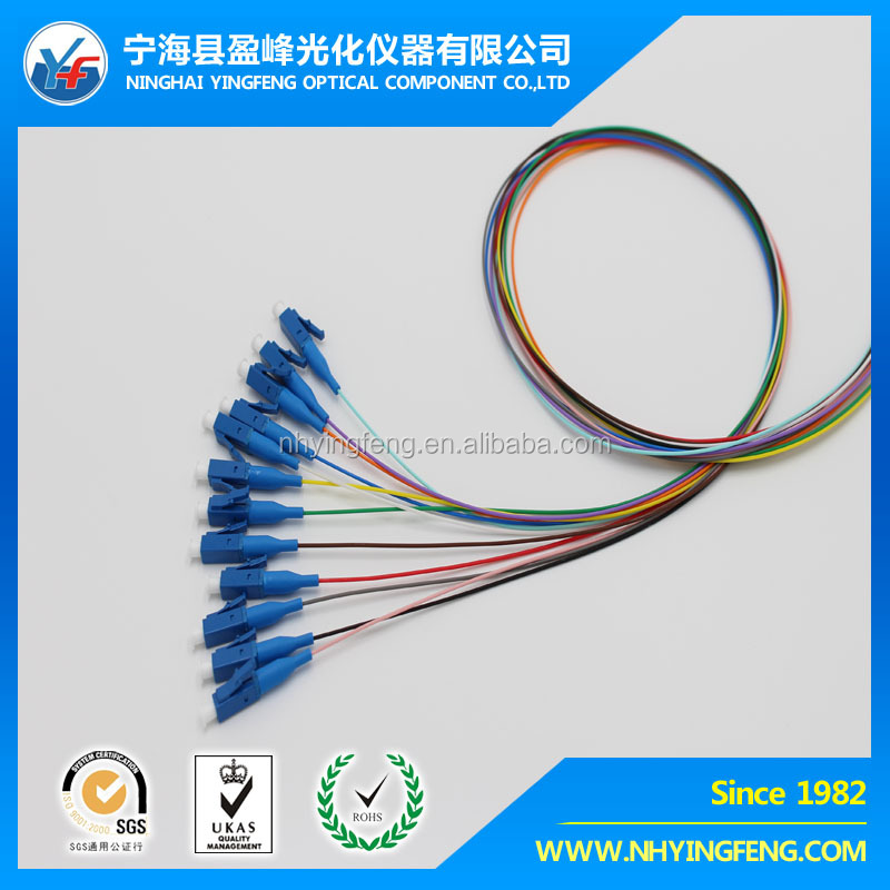 Factory supply 0.9mm LC/UPC SM 12 cores Fiber Optical Pigtail