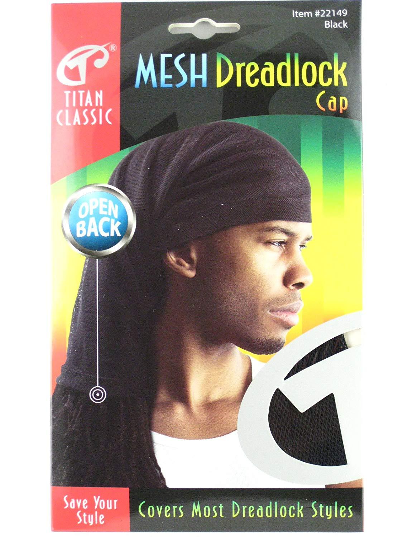 568435d8f02 Get Quotations · Titan Classic Open Back Mesh Dreadlock Cap - Black