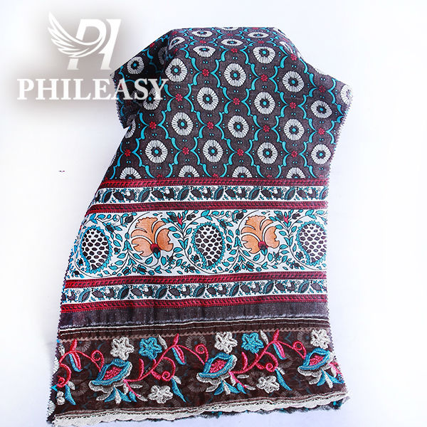 PHILEASY 2012 NEW STYLE cotton voile printed fabric with embroidery