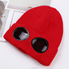 Hotsale Custom Blank Winter Removable Goggles Knitted Beanie Hat with Fluff Inside