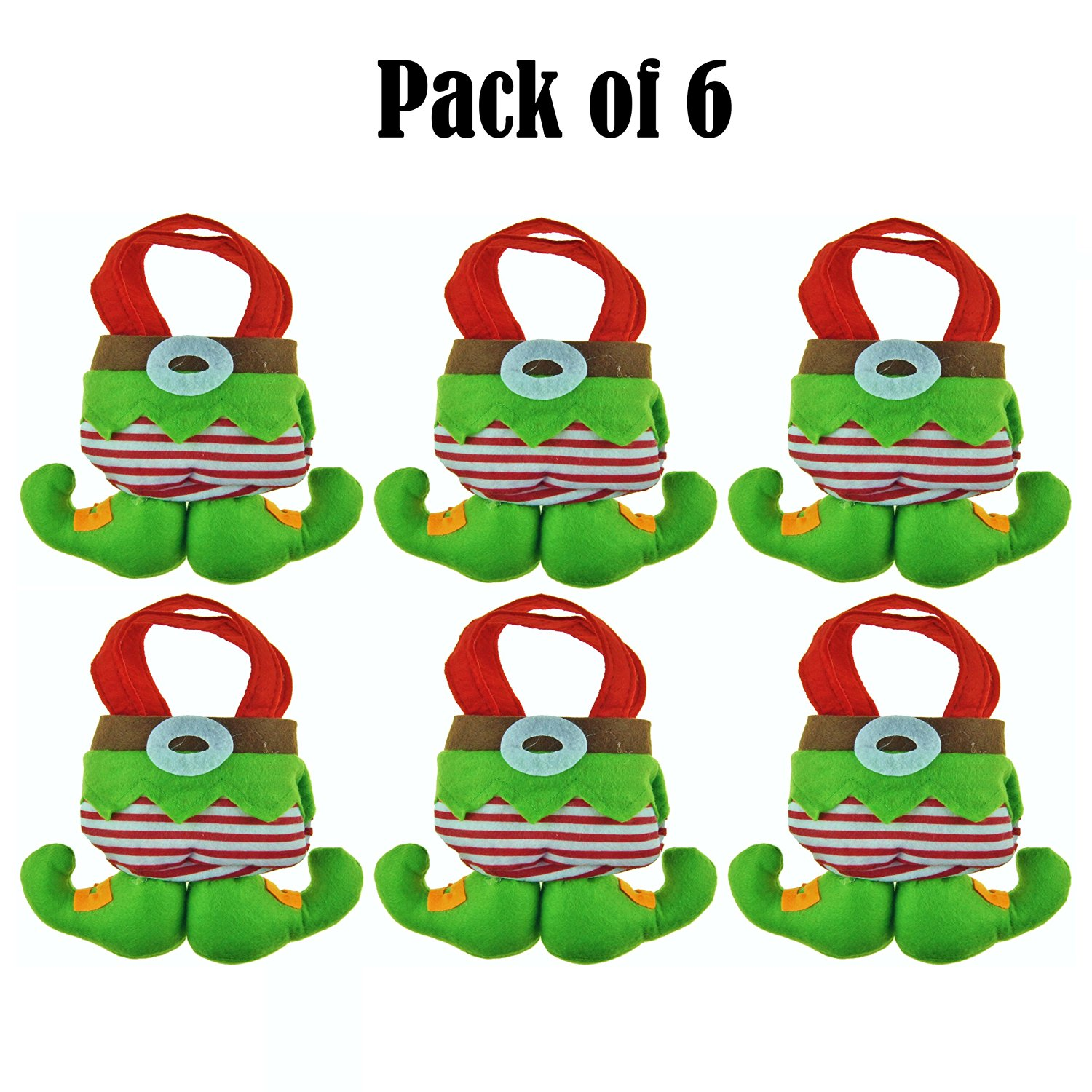 Ivenf #CYBER MONDAY SPECIAL OFFER# Felt 3D Little Elf Christmas Gift & Treat Bags Wrap Christmas Tree Decoration