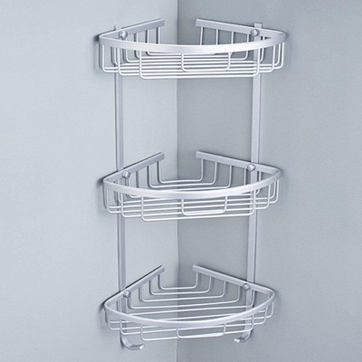 KING DO WAY Shower Bathroom Corner Shelf Storage Organizer Holder Basket Rack with Towel Hook Stainless Steel Wall Mount 3layers