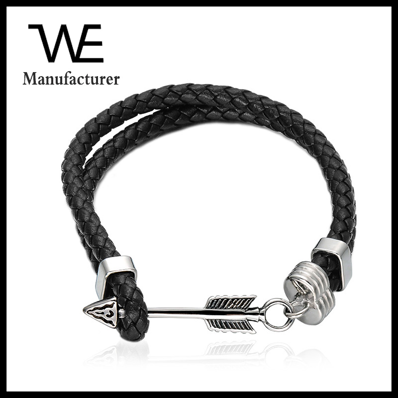 Comfortable Double Leather Stainless Steel Bow Arrow Bracelet