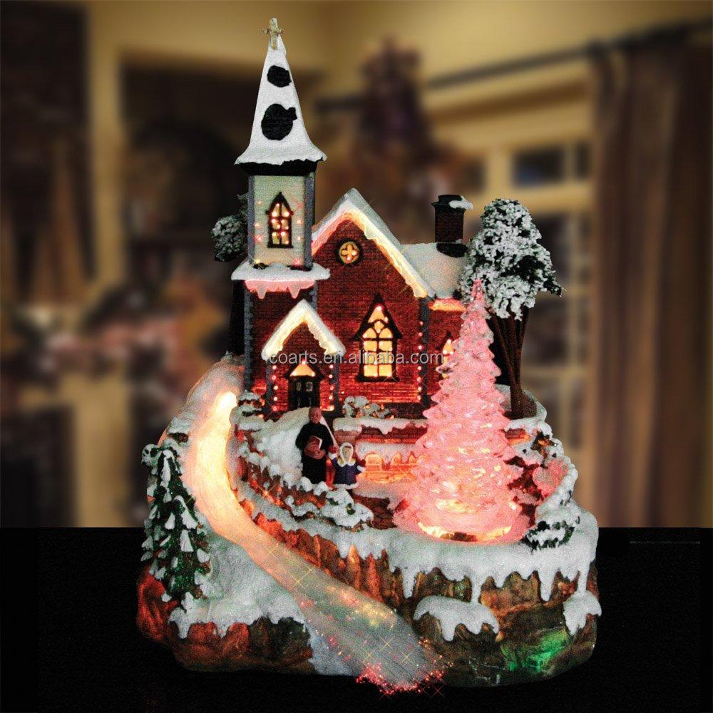 Custom Resin Christmas Village scene Fibre Optic LED Light Up ...