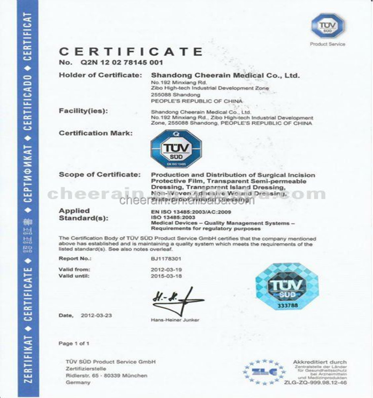 shandong ce fda certificate passed adhesive medical wound dressing, Sphenoid