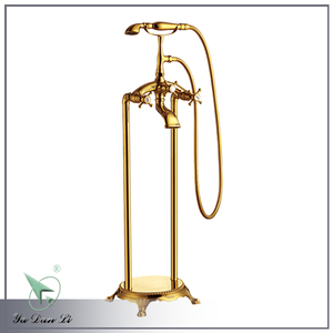 Hot sale golden plated classic style brass free standing bathtub faucet Y009A2