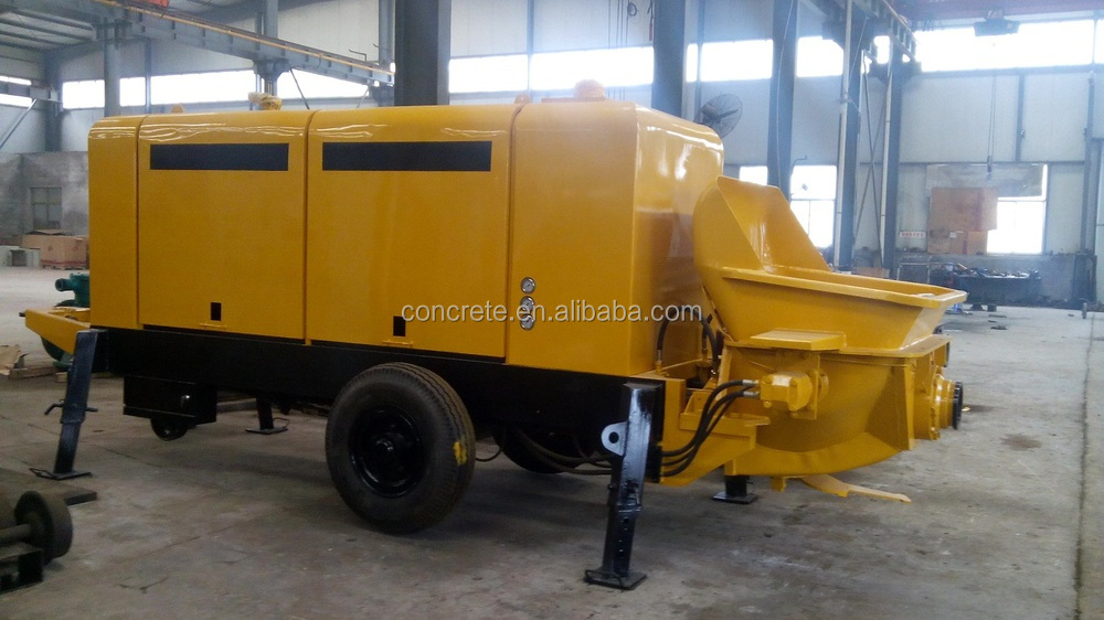 Electric trailer concrete conveying machine pump with 30 cubic meter per hour, 10Mpa pumping pressure, 45kw motor power