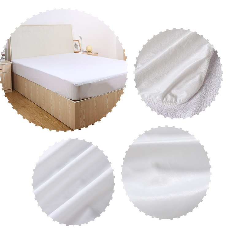 Soft 100% terry cotton  breathable Mattress Protector Pad Cover anti bed bug mattress cover hotel waterproof mattress protector