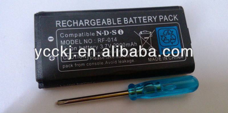 hot new products for 2014 2000mah rechargeable battery for ndsi with screwdriver