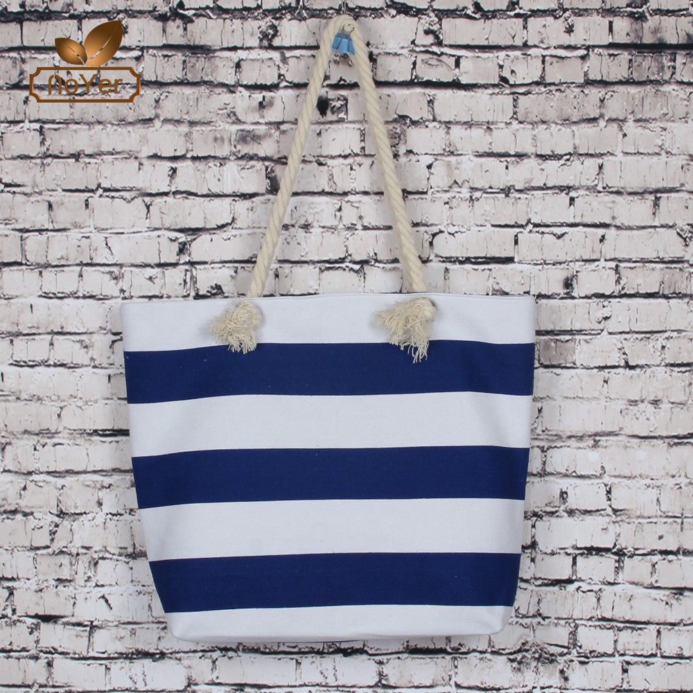 Factory price Stripes Canvas Tote Beach Bag fashion Summer Large Beach Bag