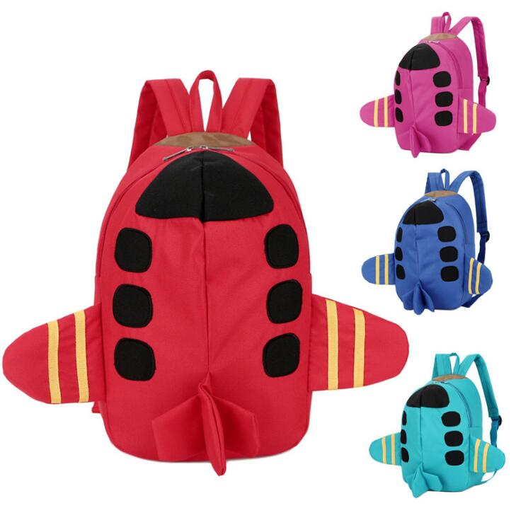 Toddler Kindergarden Flyer 3D Plane Shape Wholesale Nylon Small Kids Backpack for Pre School