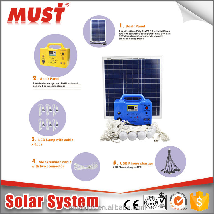 portabe mini 10W 20W 30W solar home lighting system with mobile charger/ solar panels