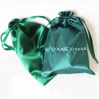 Hot Sale Wholesale Promotional Pink Green Satin Shoe Drawstring Bag , Satin Dust Bag