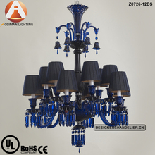 12 Lamp Baccarat Dark Blue Crystal Chandelier