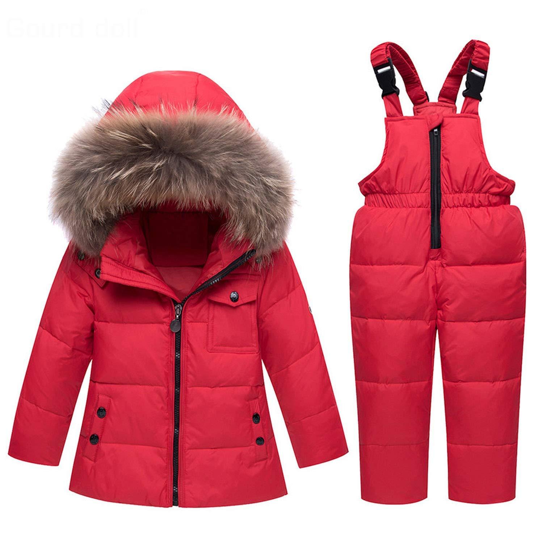 Mandaartins Winter Suits for Boys Girls Ski Suit Children Clothing Set Baby Duck Down Jacket Coat